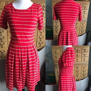 Anthropologie scalloped striped dress size small